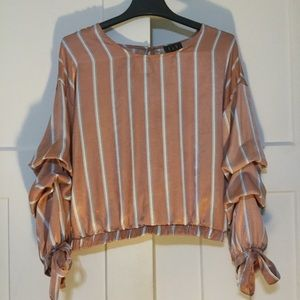 Copper Pink Blouse with Gathered Sleeves